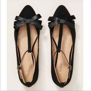 🆕NWT Anthropologie Bow Front T-Strap Flats